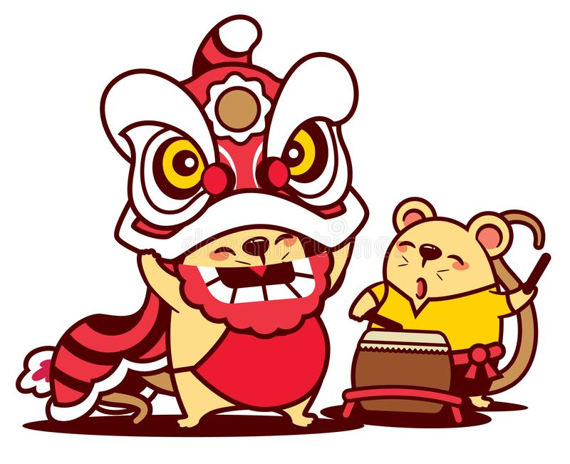 Nette Ratte der Karikatur genießen mit dem Löwetanz und netter Ratte, die Trommel spielen Chinesisches Neujahrsfest 2020 - Vektor stock abbildung