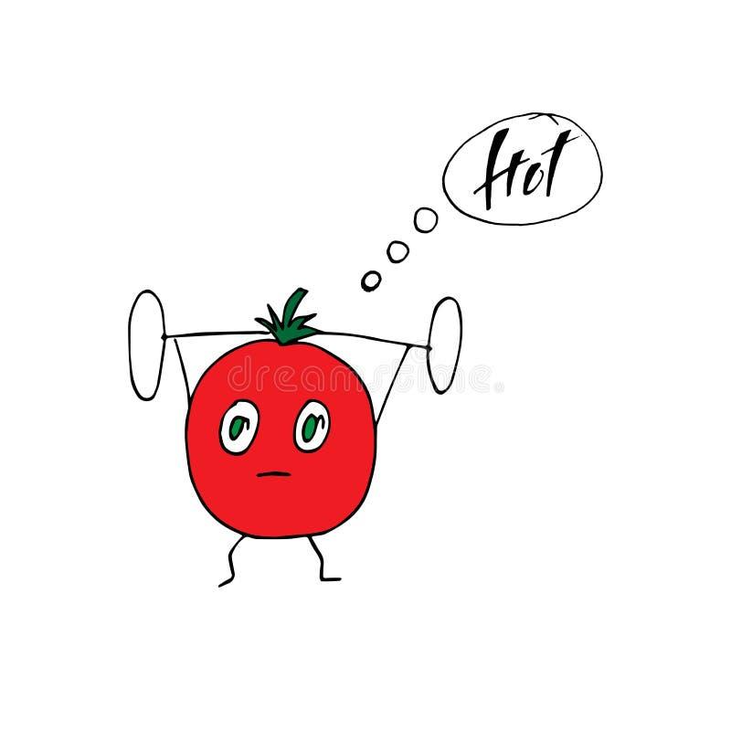 Nette reife Tomate hebt das Schwergewicht an, das Barbell verwendet Lustige Bodybuilderillustration Gesunde Lebensstil- und Sport stock abbildung