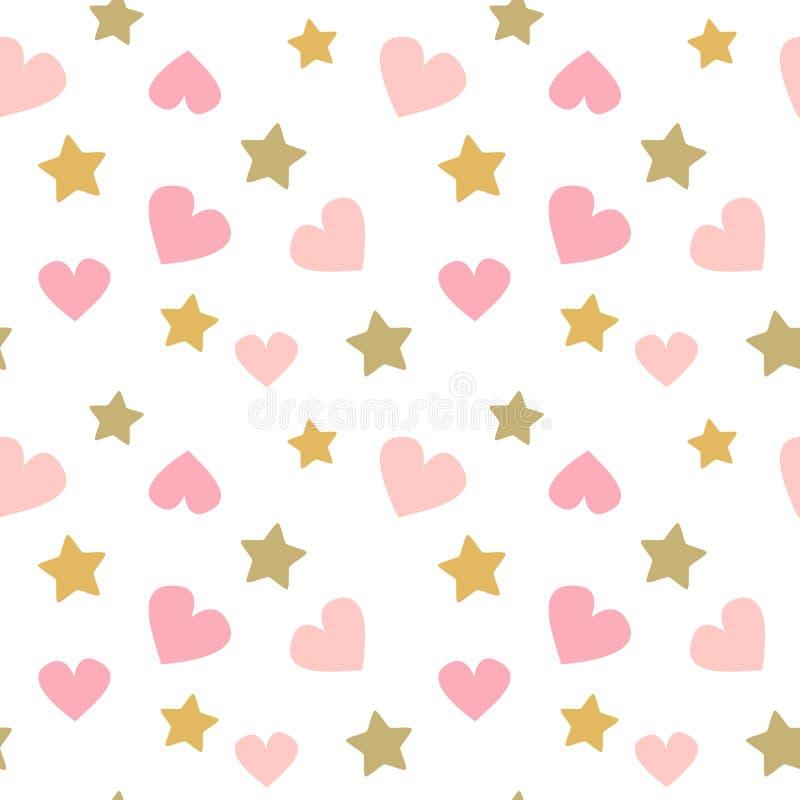 Nette reizende nahtlose Vektormusterhintergrundbaby-Druckillustration mit Gekritzelrosaherzen und goldenen Sternen lizenzfreie abbildung