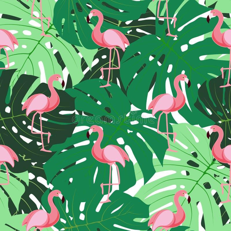 Nette Retro- nahtlose Flamingo-Muster-Hintergrund-Vektor-Illustration vektor abbildung
