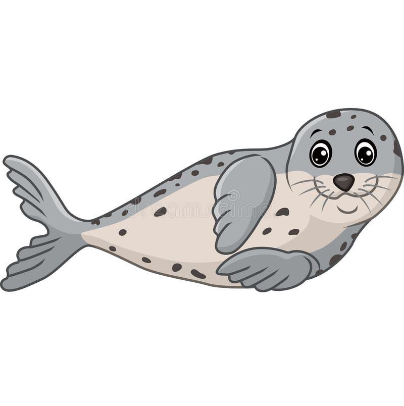 Nette Robbenkarikatur lokalisiert auf weißem Hintergrund lizenzfreie abbildung