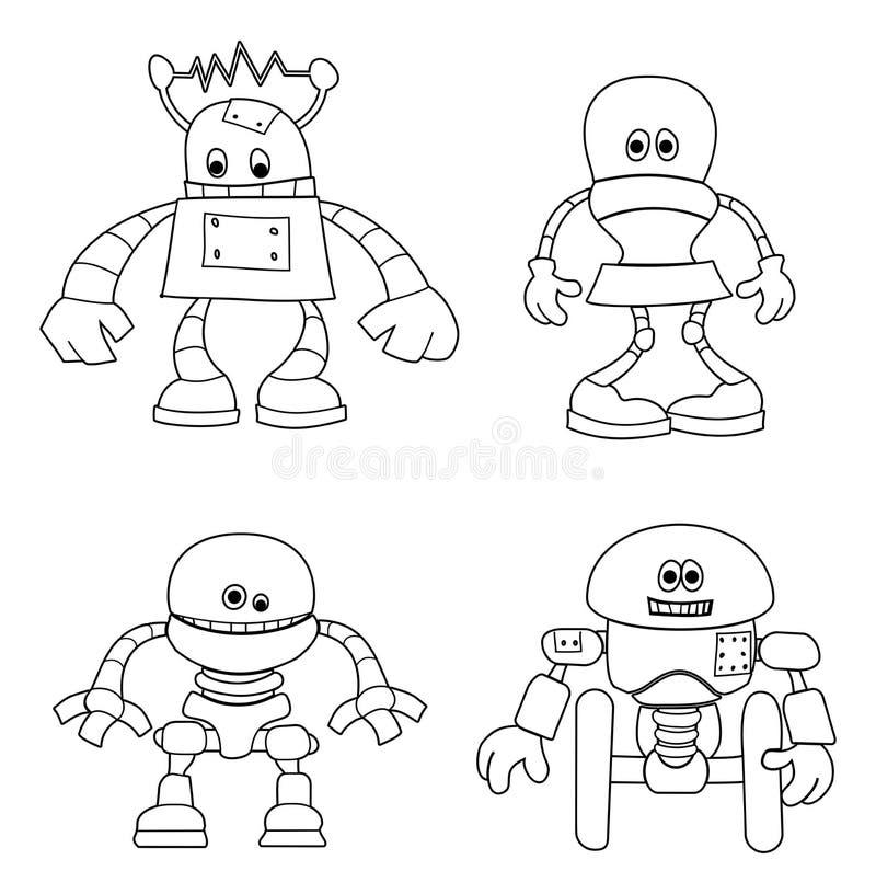 Nette Roboter-Kinder, die Zeichentrickfilm-Figuren färben stock abbildung