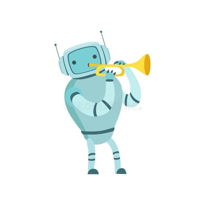 Nette Roboter-Musiker-Playing Trumpet Musical-Instrument-Vektor-Illustration vektor abbildung