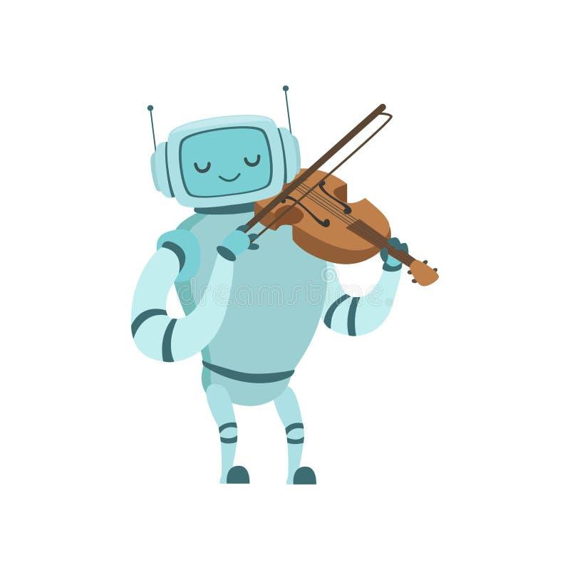 Nette Roboter-Musiker-Playing Violin Musical-Instrument-Vektor-Illustration stock abbildung