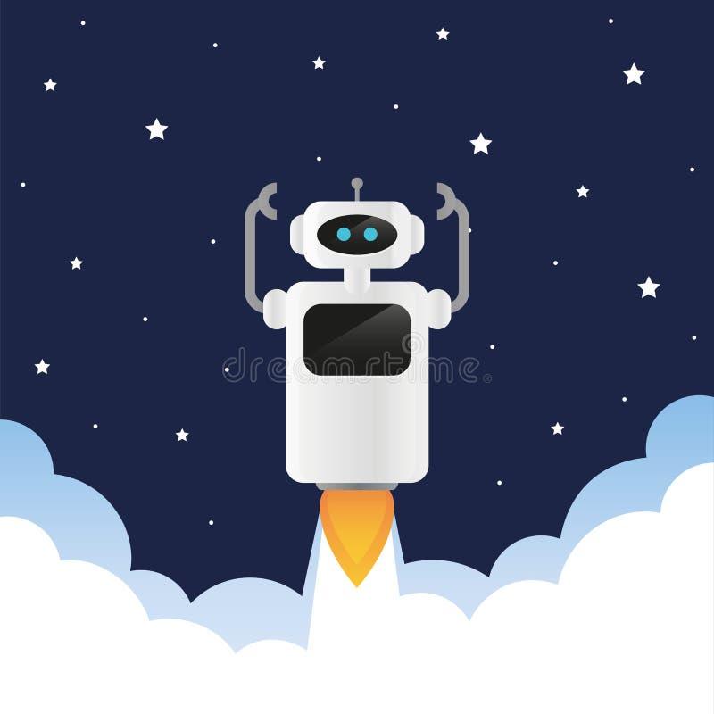 Nette Roboterprodukteinführungen in Raum mit Rauche und Sternen stock abbildung