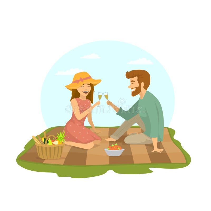 Nette romantische Datierungspaare in der Liebe, die auf einer Plaiddecke im Park, am Picknick sitzt vektor abbildung