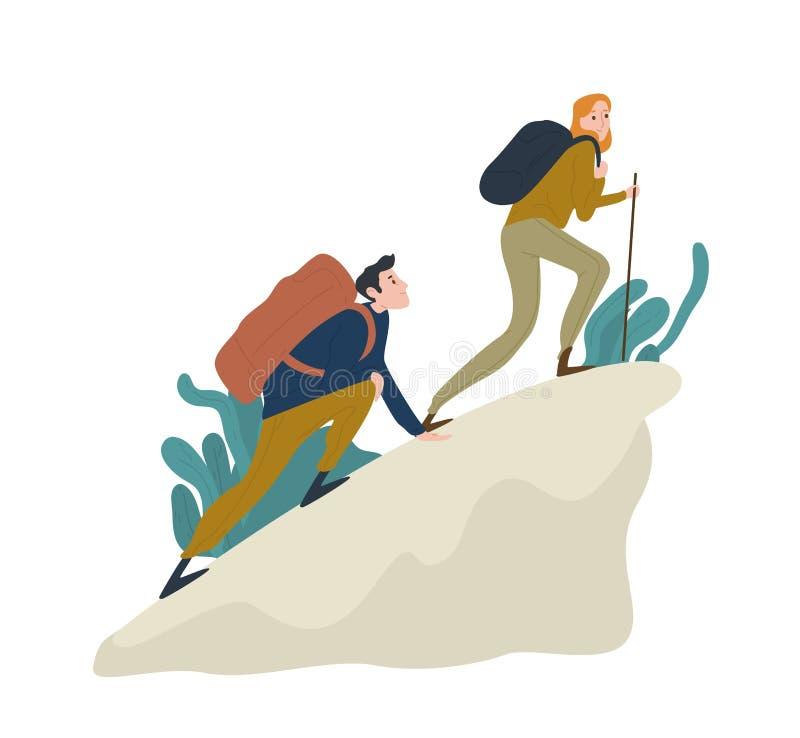 Nette romantische Paare, die oben Klippe oder Berg klettern Paare der lustigen Wanderer, der Touristen oder der Bergsteiger lokal vektor abbildung