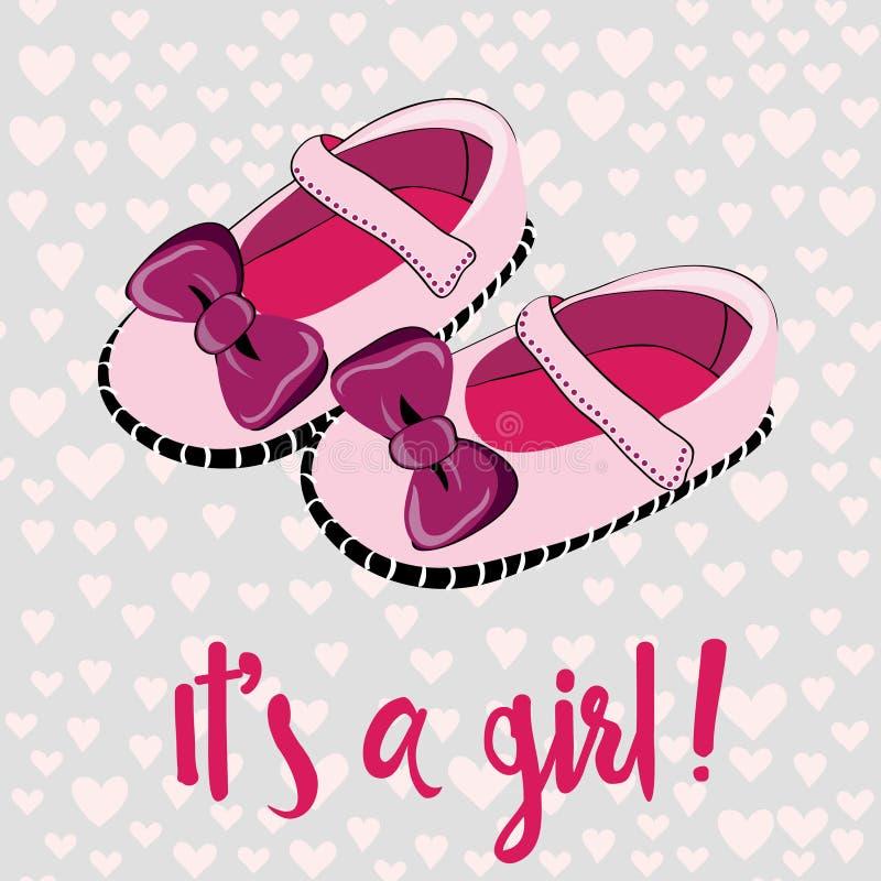 Nette rosa Babyschuhe für neugeborenes Mädchen Es `S glückliches neues Jahr 2007 Vektorillustration auf rosa Herzmusterhintergrun vektor abbildung