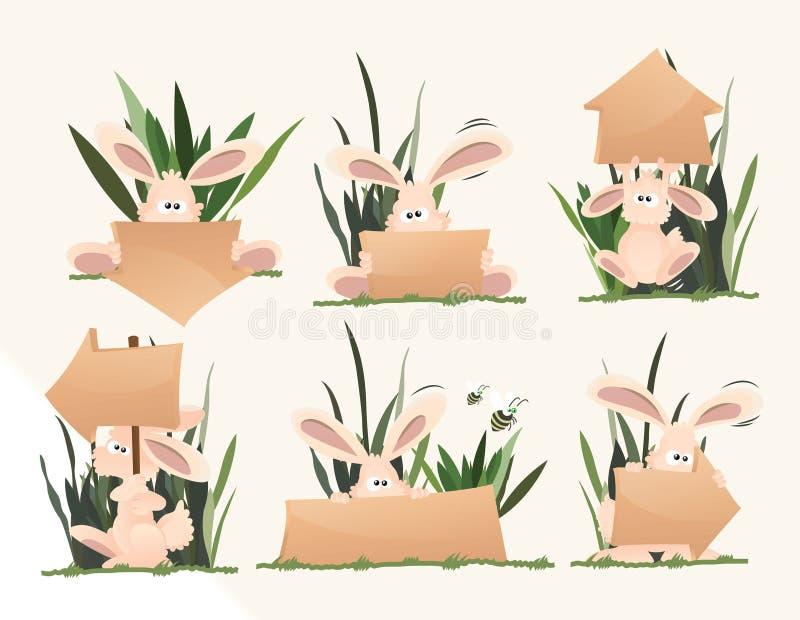 Nette rosa Kaninchen, die Zeichen halten vektor abbildung