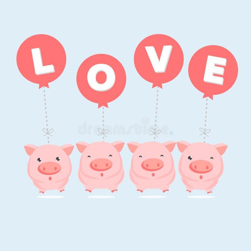 Nette rosa Schweinkarikatur, die an den LIEBES-Ballonen hängt Valentinsgru? `s Tagespostkarte Auch im corel abgehobenen Betrag stock abbildung