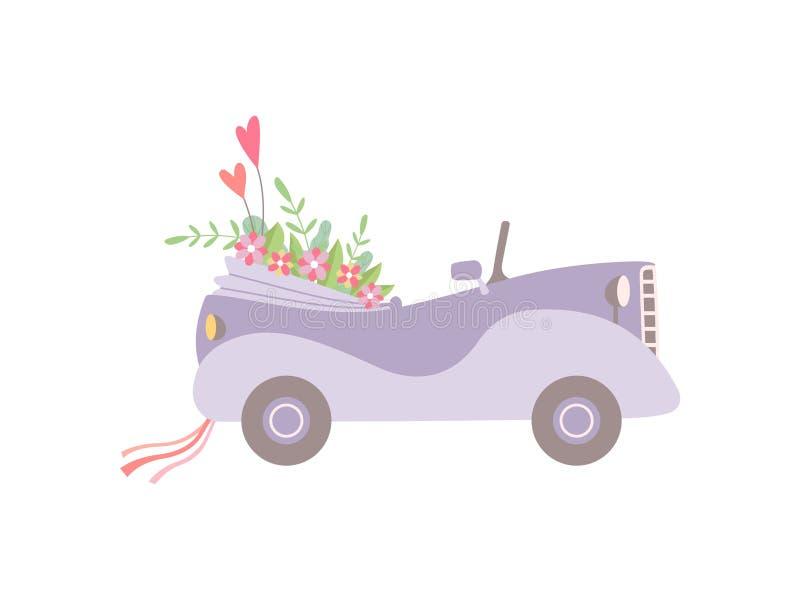 Nette rosa Weinlese-konvertierbares Auto verziert mit Blumen, romantisches heiratendes Retro- Auto, Seitenansicht-Vektor-Illustra stock abbildung