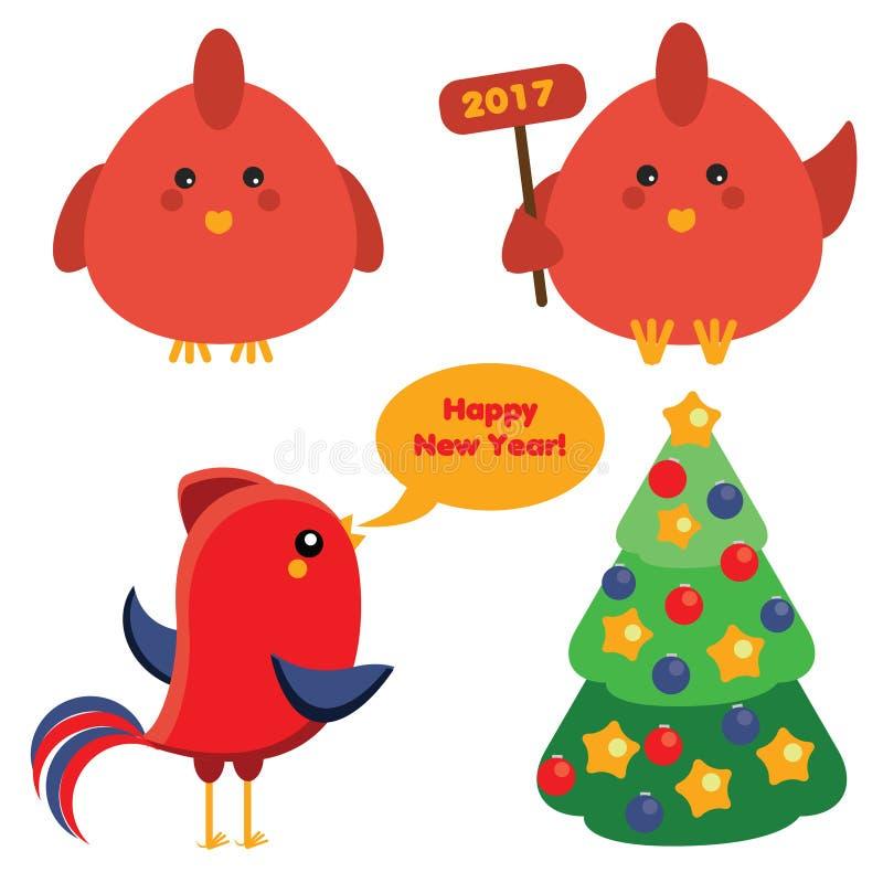 Nette rote Hähne und Weihnachtsgezierter Baum in der Karikaturart, Symbol des neuen Jahres 2017 Ikonen, Gestaltungselemente lizenzfreie abbildung