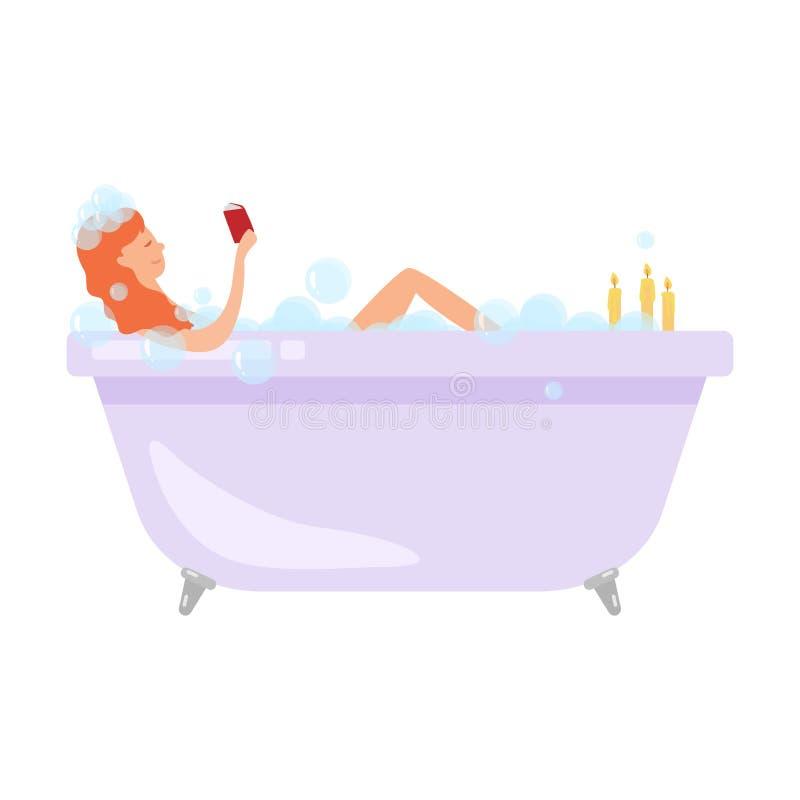 Nette rote Haarfrau ein Bad mit Weinglas nehmen vektor abbildung