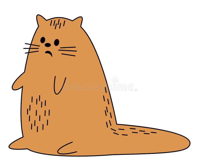 Nette rote Katze Das Haustier sitzt Das Tier wurde erschrocken Karikaturbild Auch im corel abgehobenen Betrag lizenzfreie abbildung