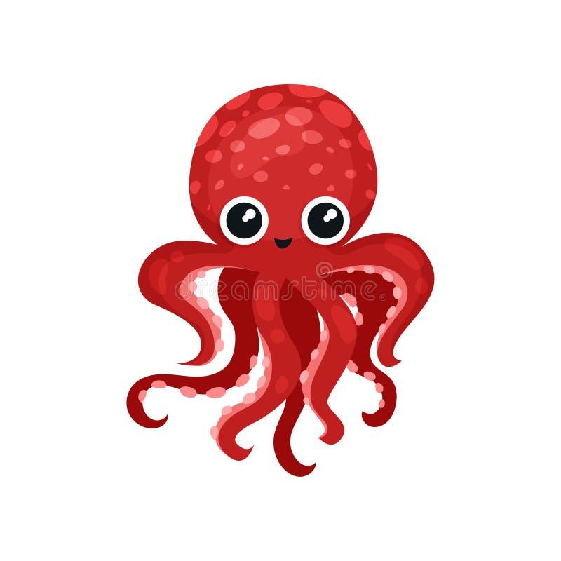 Nette rote Krake mit großen glänzenden Augen Weich-bodied Molluske mit sieben Tentakeln See- und Ozeanthema Flache Vektorikone lizenzfreie abbildung