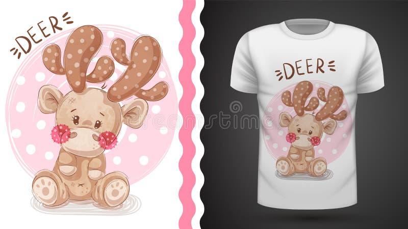 Nette Rotwild - Idee für Druckt-shirt stock abbildung