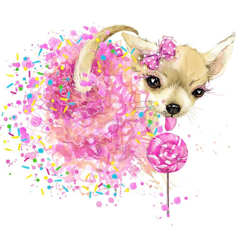 Nette süße Hundt-shirt Grafiken Lustige Hundeillustration mit Spritzenaquarell maserte Hintergrund lizenzfreie abbildung