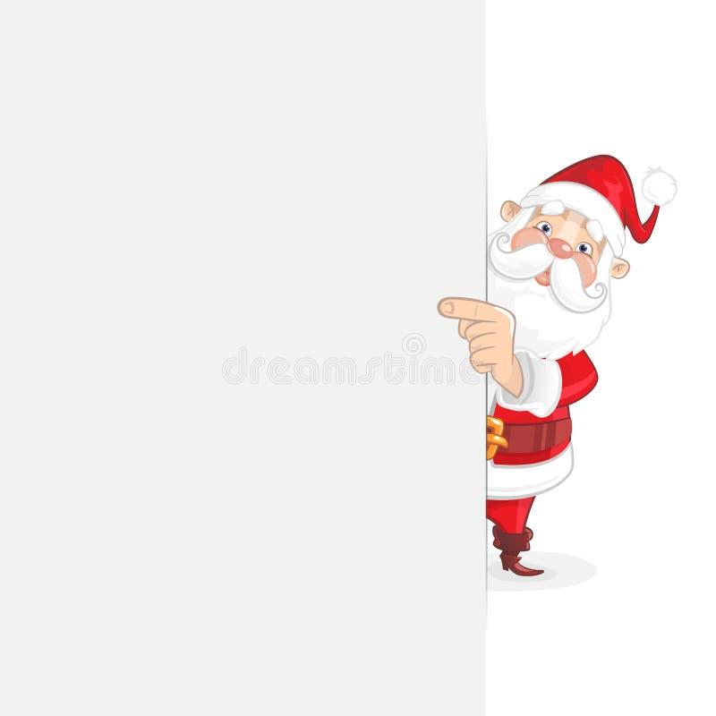 Nette Santa Claus, die hinter weißem Brett und auf Vertretung der rechten Seite steht, was auf ihm ist lizenzfreie abbildung