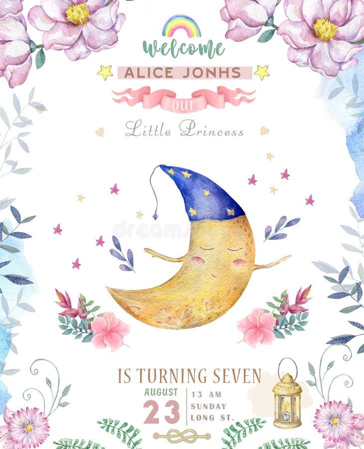 Nette SCHÄTZCHEN-Grußkarte Aquarellmond im Nachthut mit boho Blumen und Blumensträuße alles- Gute zum Geburtstagsatz watercolor lizenzfreie abbildung