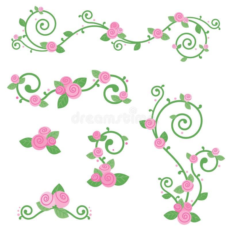 Nette schöne Dekorations-flache Vektor-Illustration Rosa-Rose Swirl Vine Design Elementss lokalisiert auf Weiß vektor abbildung