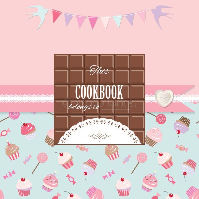Nette Schablone für Mädchen Kann für Einklebebuchdesign, Kochbuch, Tagebuch, Fotoalbumabdeckung verwendet werden vektor abbildung