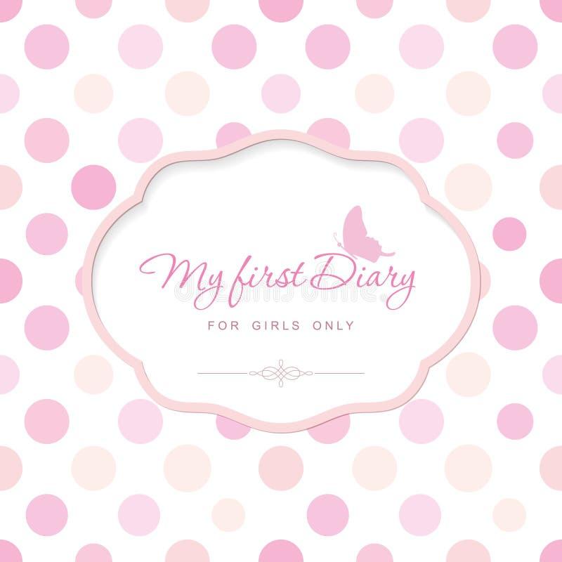 Nette Schablone für Notizbuchabdeckung für Mädchen Mein erstes Tagebuch Eleganter Rahmen mit Schmetterling auf Tupfen kann für ve stock abbildung