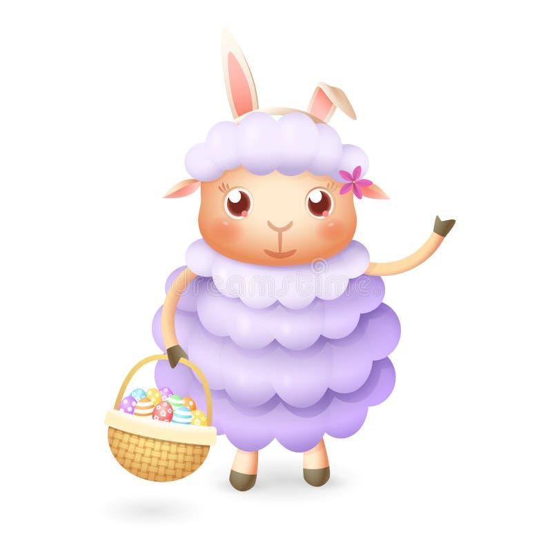 Nette Schafe mit Ostereiern im Korb feiern Ostern -, das auf weißem Hintergrund lokalisiert wird stock abbildung