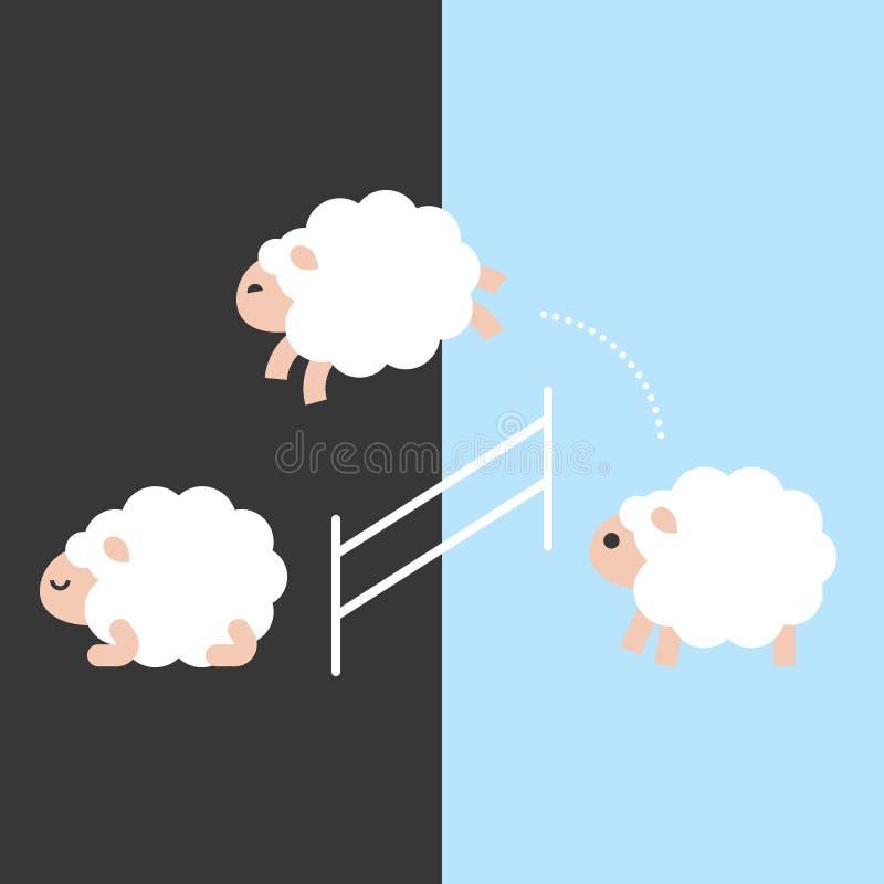 Nette Schafe zwischen, die Tag und Nacht über einen Zaun, flaches desi springen stock abbildung