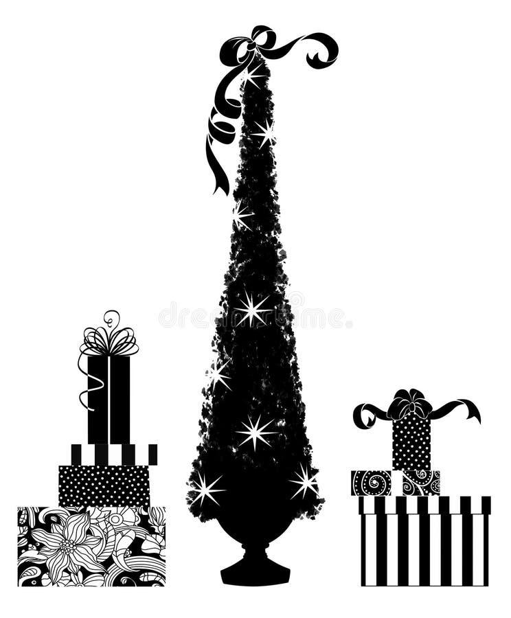 Nette Schattenbilder eines der Weihnachtsbaums und Geschenke vektor abbildung