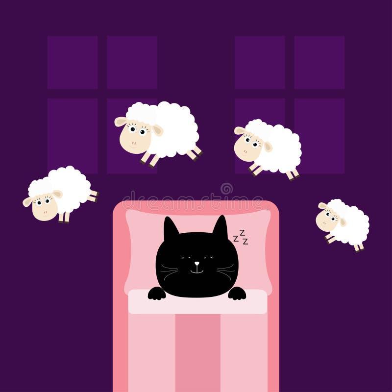 Nette Schlafenkatze Springende Schafe Schräges Schlafschlafen gehen Konzept lizenzfreie abbildung