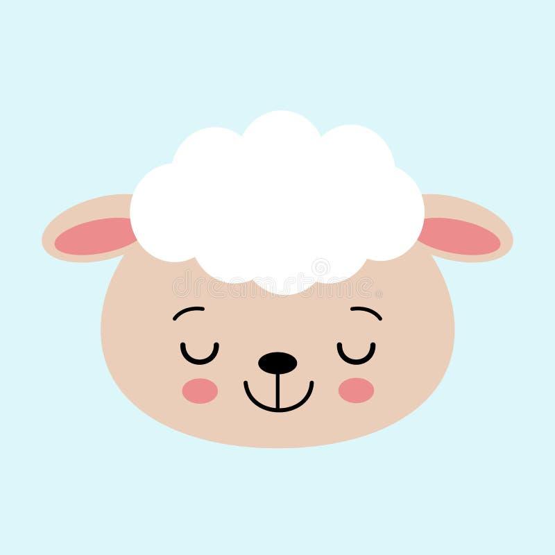 Nette Schlafenschaf-Vektorillustration Konzept des Versuchens zu schlafen, die Schafe zählend, Schlafstörungen, Babyschlaf lizenzfreie abbildung