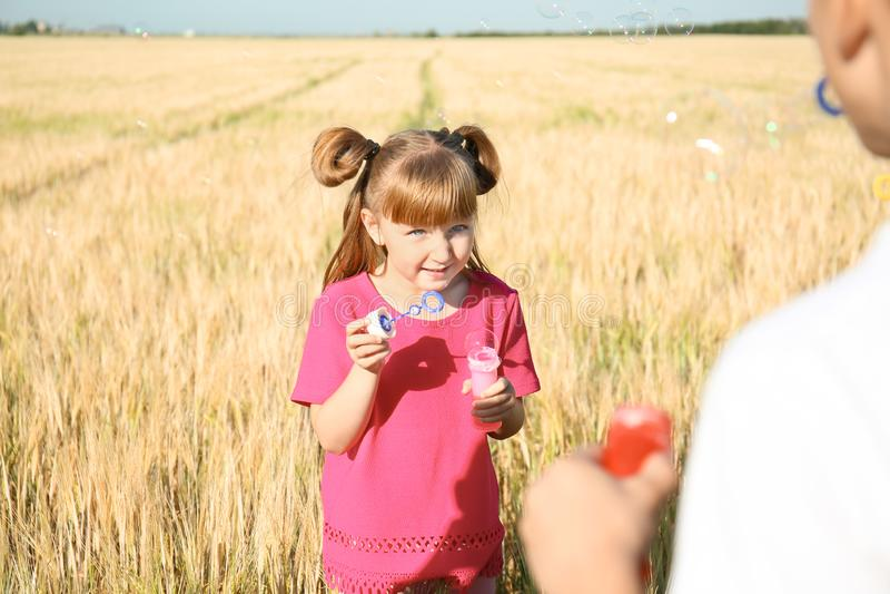 Nette Schlagseifenblasen des kleinen Mädchens auf dem Weizengebiet am sonnigen Tag stockfoto
