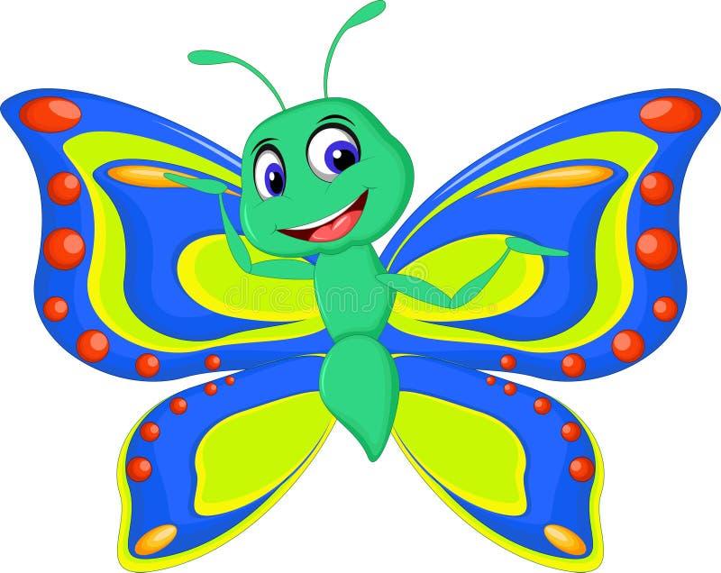 Nette Schmetterlingskarikatur stock abbildung