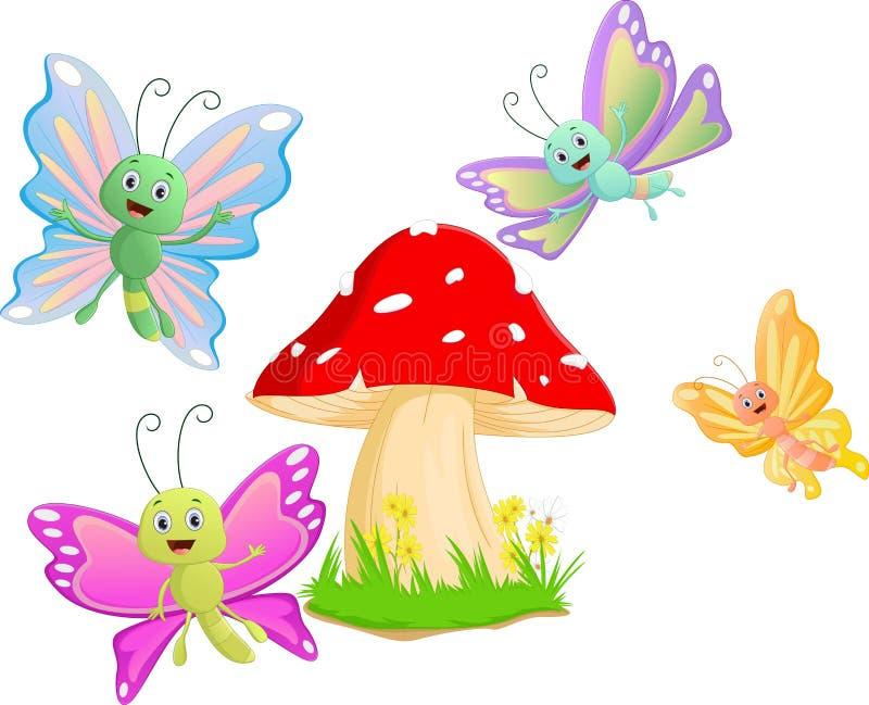 Nette Schmetterlingskarikatur mit rotem Pilz stock abbildung