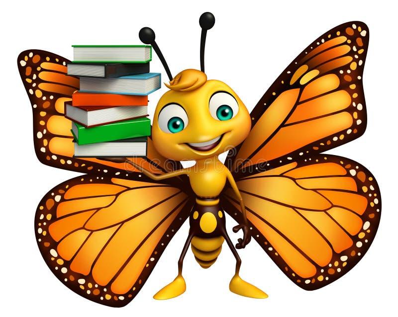 nette Schmetterlingszeichentrickfilm-figur mit Büchern stock abbildung