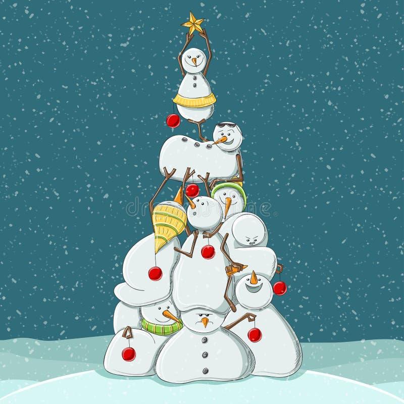 Nette Schneemanncharaktere, die einen Weihnachtsbaum, Vektorillustration bilden lizenzfreie abbildung