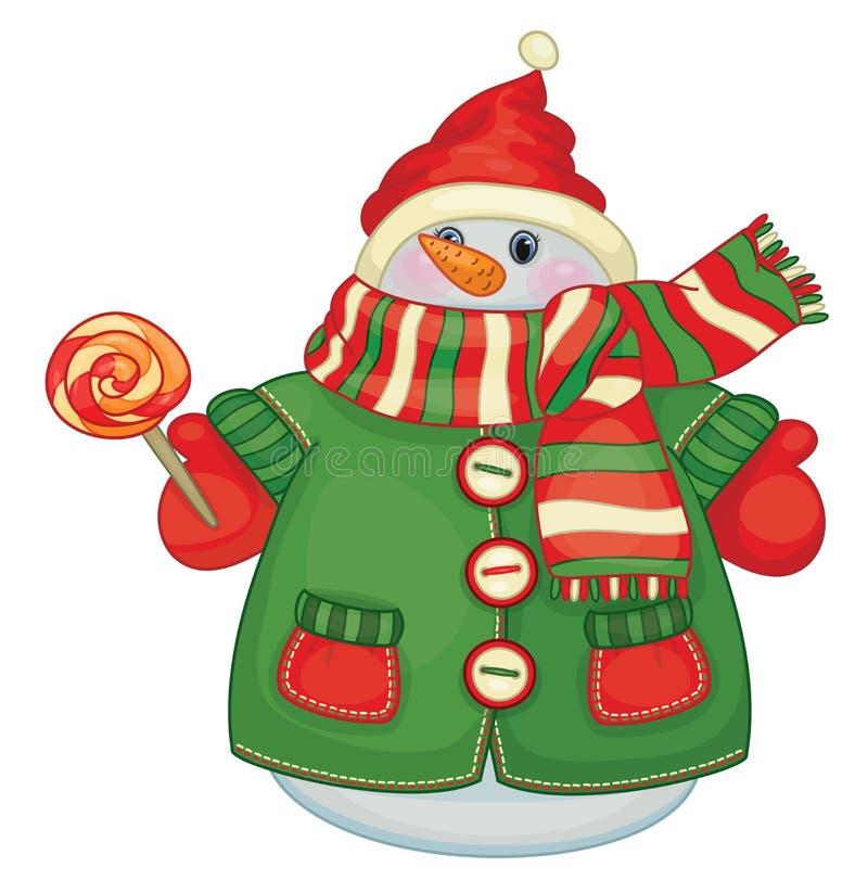 Nette Schneemannkarikatur des Vektors, die Süßigkeit hält stock abbildung