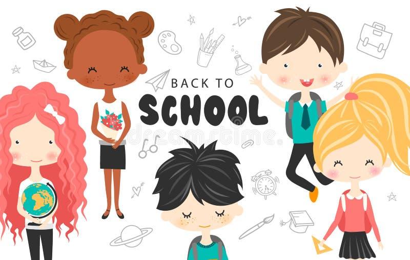 Nette Schule scherzt mit Rucksäcken, Kugel und Buch Glückliche Kinderkarikatursammlung Multikulturelle Kinder in unterschiedliche lizenzfreie abbildung