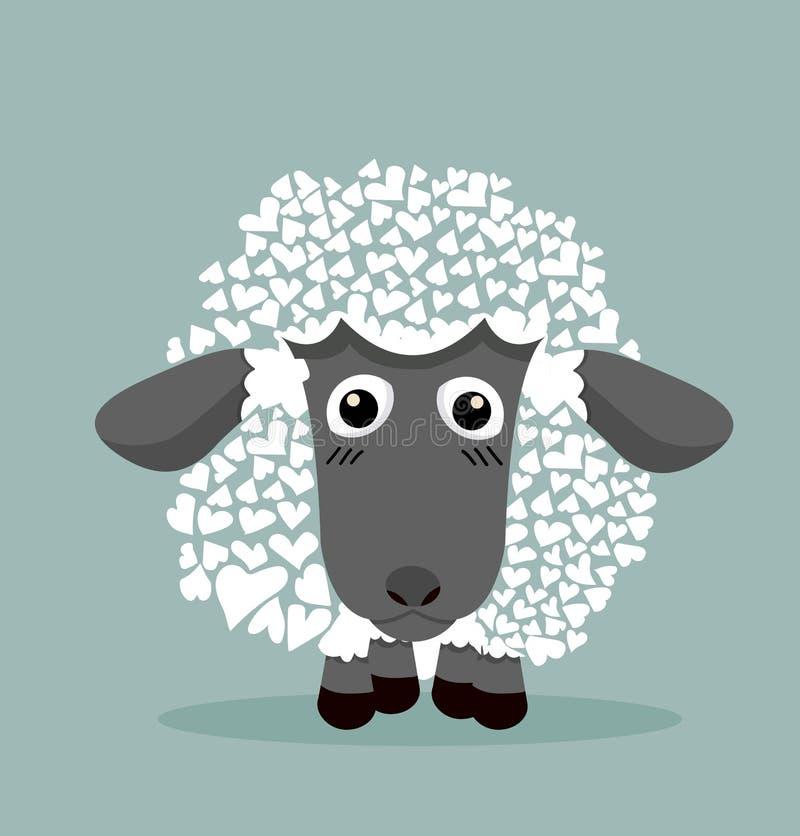 Nette schwarze Schafe in der Herzform lizenzfreie abbildung