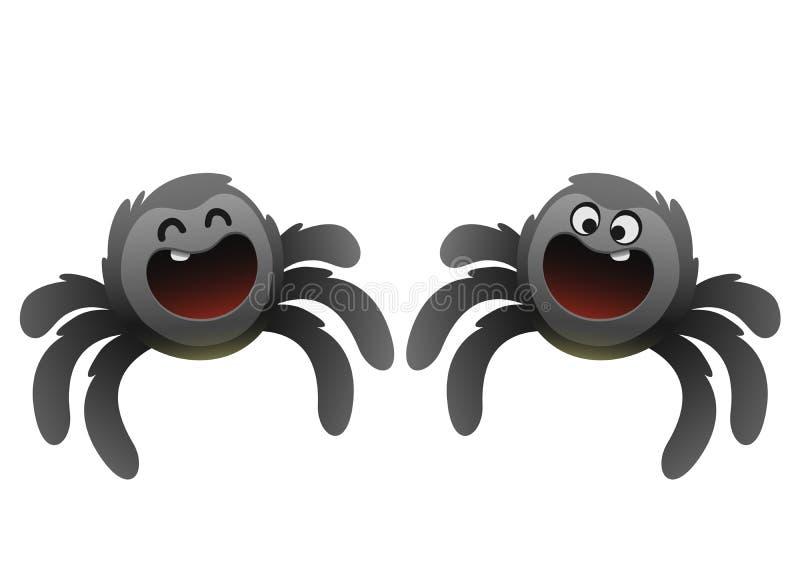 Nette schwarze Spinne, die breit lächelt stock abbildung