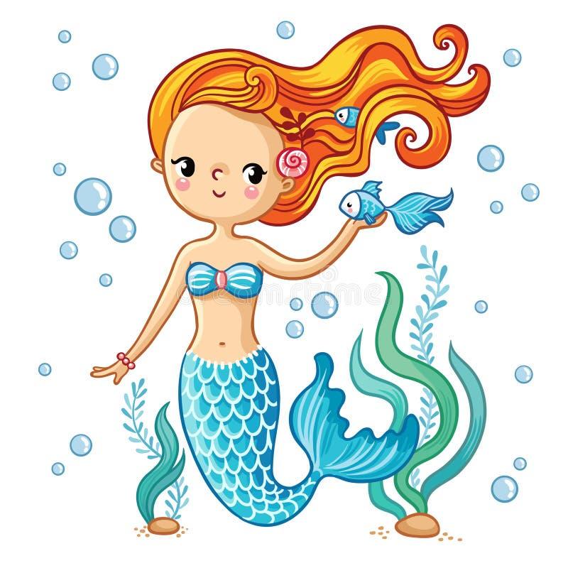 Nette Schwimmenkarikaturmeerjungfrau stock abbildung