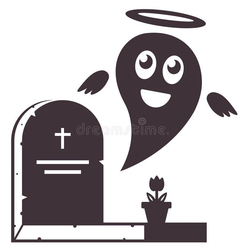 Nette Seele fliegt aus dem Grab heraus Kryptaikone Friedhof vektor abbildung