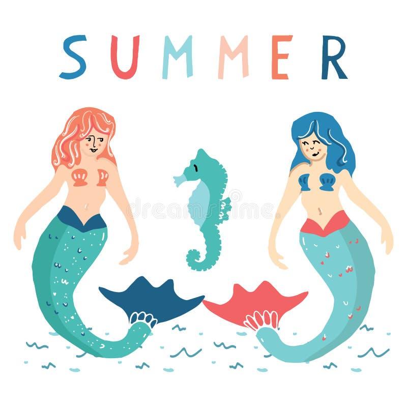 Nette Sommermeerjungfrauen mit Seahorsekarikaturvektorillustrations-Motivsatz Handgezogenes lokalisiertes Marinemythologie-Elemen vektor abbildung