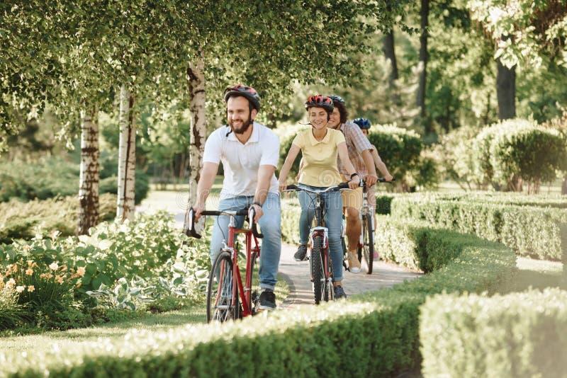 Nette sportliche Freunde, die Fahrräder im Park reiten stockfotos
