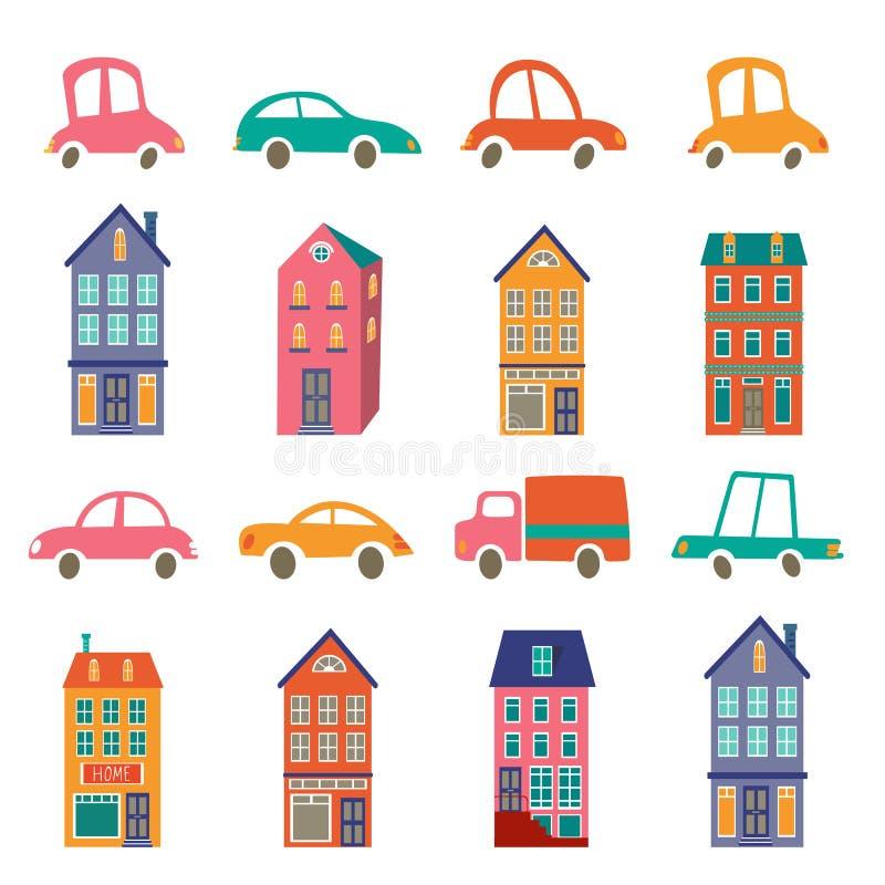 Nette Stadtsammlung mit Häusern und Autos lizenzfreie abbildung
