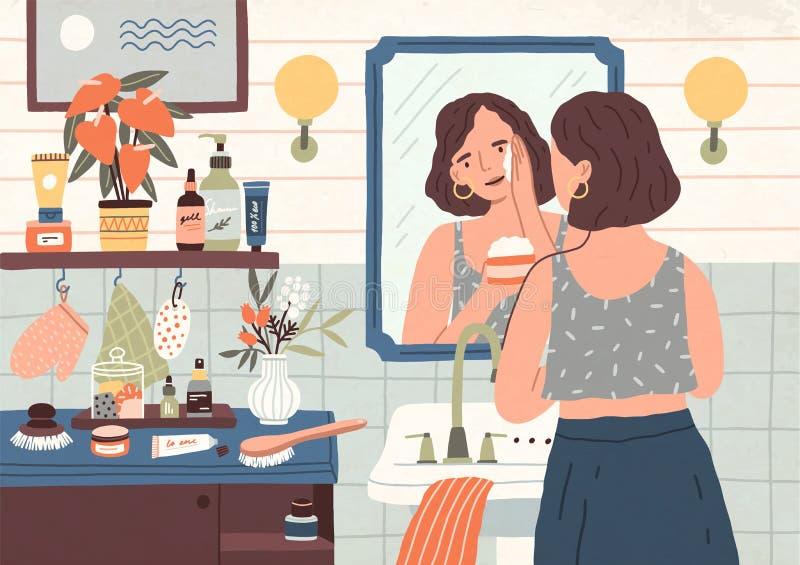 Nette Stellung der jungen Frau vor Spiegel und Reinigung oder Befeuchten ihrer Haut Tägliche Körperpflege, skincare stock abbildung