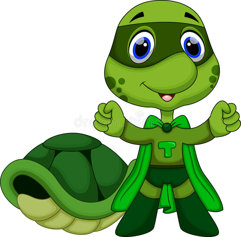 Nette Superschildkrötenkarikatur vektor abbildung