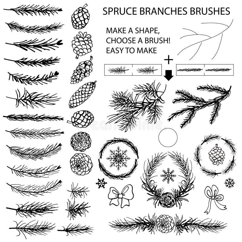 Nette takkenborstels, Denneappels, boogsilhouet vector illustratie