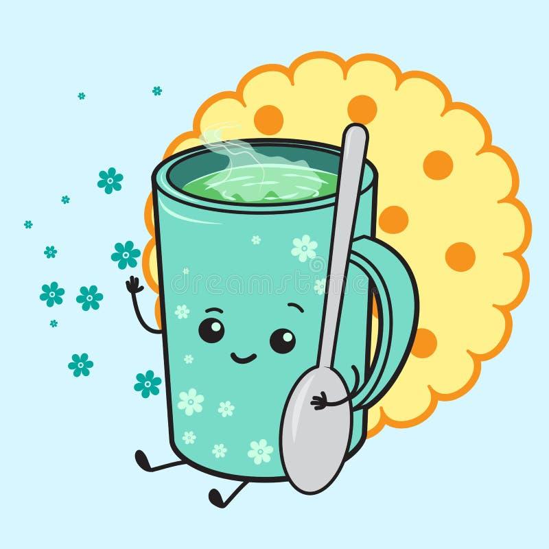 Nette Tasse Tee und Plätzchen lizenzfreie abbildung