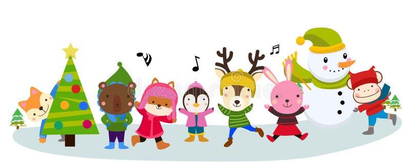 Nette Tiere in der Winterkleidung lizenzfreie abbildung